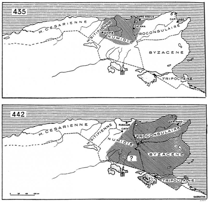 Carte n°1 : L'expansion de l'Etat vandale entre 435 et 442 (d'après Courtois)