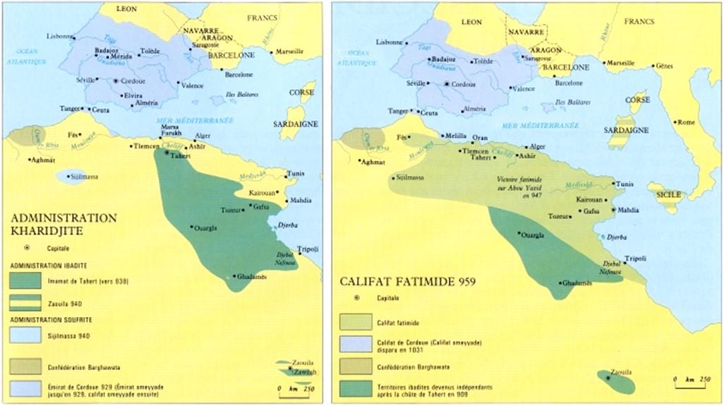 Cartes N°2 : Le Maghreb: de l'époque des Emirat Kharidjites à l'époque des Fatimides
