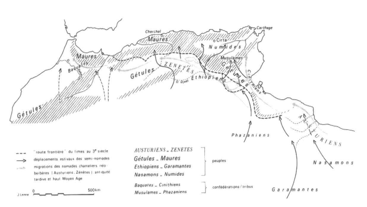 Carte N° 1 : Principaux axes de déplacement des populations nomades à travers le Limes romain de l'antiquité jusqu'au haut moyen âge. -d'après Jean Lenne-