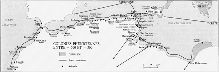 Colonies phéniciennes entre -500 et -300 (Atlas historique de l'Afrique, op.cit., p. 47)